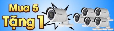 khuyến mãi mua 5 tặng 1 camera hikvision