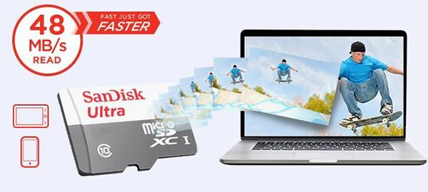 Thẻ nhớ MicroSDHC Sandisk 32GB class 10 UHS-I 48Mb/s
