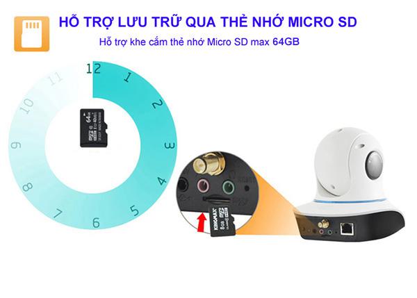 Hỗ trợ khe thẻ nhớ Micro SD max 64GB