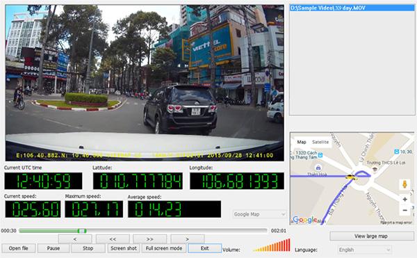 Ghi hình với thông tin tọa độ, tốc độ, bản đồ
