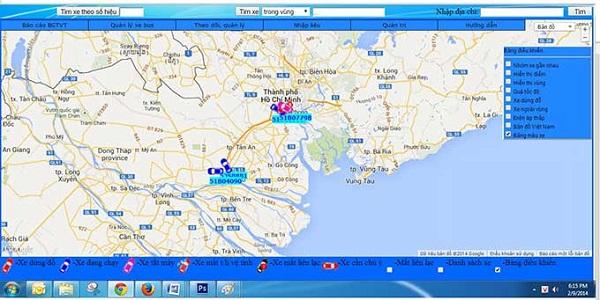 Bản đồ mô tả quản lý Hộp đen ô tô Adsun TMS-T90