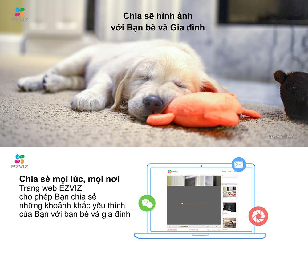 Camera IP Wifi EZVIZ CS-CV206 cho phép chia sẻ hình ảnh
