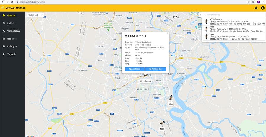 Thiết bị định vị xe máy GPS Tracker Vietmap MT10 hỗ trợ quản lý bằng ứng dụng web
