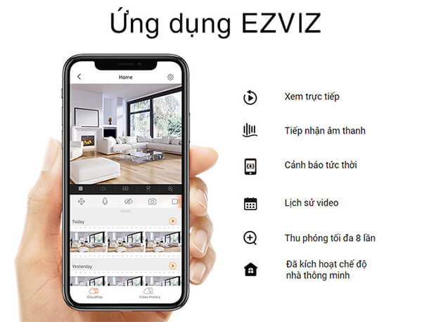 Camera EZVIZ C3W CS-CV310 ứng dụng
