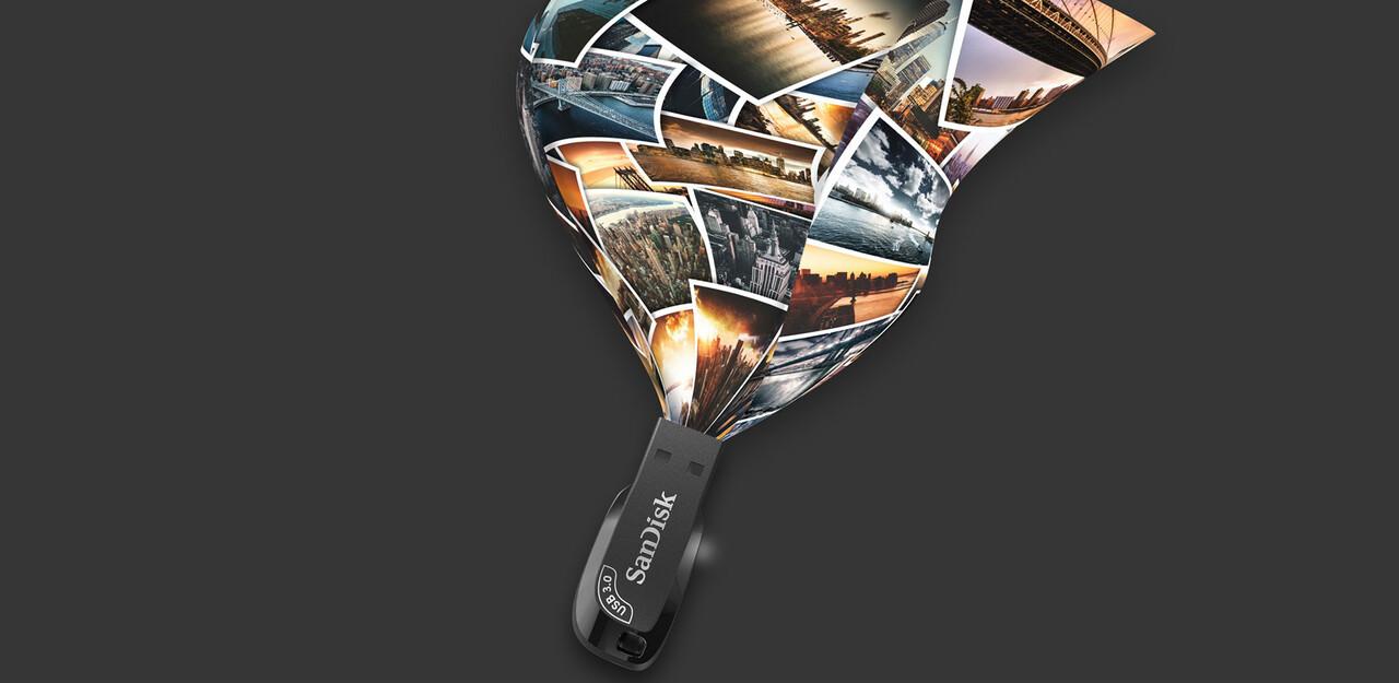 USB SanDisk Ultra Shift USB 3.0 Flash Drive, CZ410 64GB, USB3.0, Black,  compact design SDCZ410-064G-G46